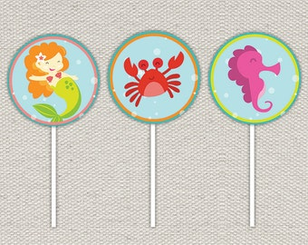 Mermaid Birthday Party Cupcake Toppers // Turquoise, Orange, Purple, Lime