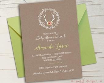 Deer Baby Shower Invitation || Printable, Floral, Antlers, Melon, Coral Pink, Green