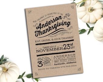 Thanksgiving Dinner Invitation || Printable Invitation || Fall, Burnt Orange, Brown