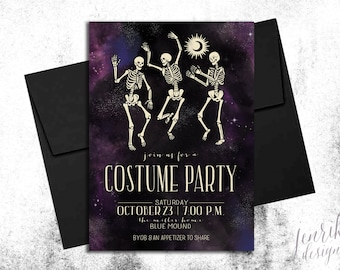 CUSTOM Invitation || Dancing in the Moonlight Adult Halloween Party Invitation || Digital or Printed Invitations || Not a Template