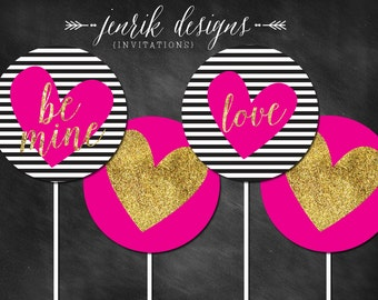 Valentine's Day Cupcake Toppers    Black & White Stripes, Hot Pink, Gold