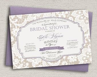 Elegant Lace Bridal Shower Invitation // Greige & Dusty Lavender Purple