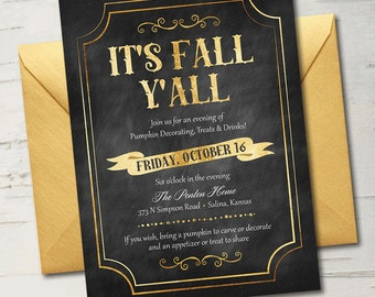 It's Fall Y'all! Chalkboard & Gold Fall Invitation || Halloween Party, Fall Party, Thanksgiving Party