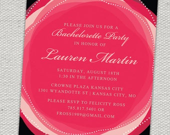 Glam Shades of Pink Bachelorette Invitation // Hot Pink, Black, Pearls, Flower