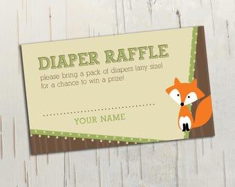 Woodland Animals Diaper Raffle Ticket