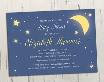 Stars & Moon Baby Shower Invitation || Printable Invitation