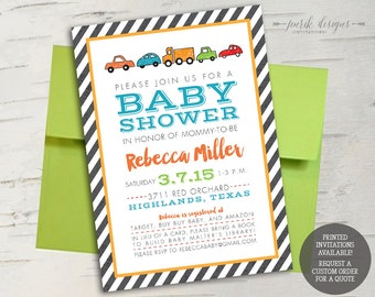 Double Sided Colorful Cars Baby Shower Invitation // Grey Stripes, Blue, Orange, Yellow, Green // Printable File