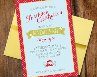 Fun in the Forest Birthday or Baby Shower Invitation // Woodland Mushrooms, Red Polka Dots