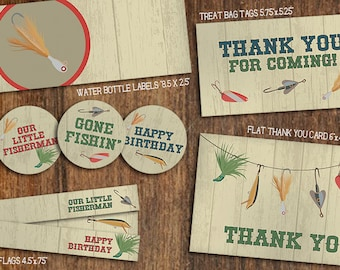 Little Fisherman Birthday Party Pack // Fishing Lures, Rustic, Cupcake Toppers, Banner, Thank You Card