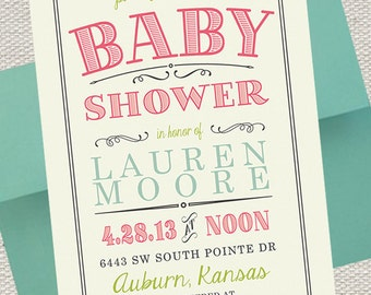 Vintage Scroll Baby Shower Invitation // Pink, Lime & Turquoise