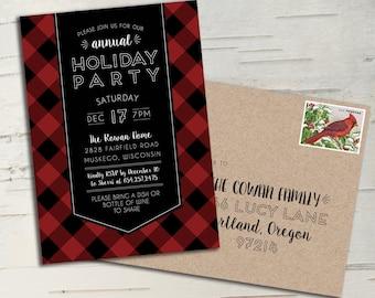 Buffalo Plaid Holiday Party Invitation || Printable Invitation || Christmas Card