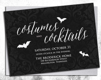 CUSTOM Costumes & Cocktails Adult Halloween Invitation || Digital or Printed Invitations || Not a Template