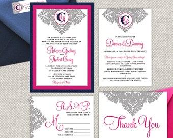 Monogram Wedding Invitation, Reception Card,  RSVP Postcard, Thank You Card, & Return Label // Fuchsia, Navy, Grey, Shimmer