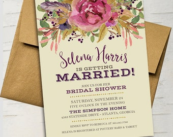 Vintage Fall Floral Gold Bridal Invitation || Plum, Purple, Avocado Green, Burgundy, Gold, Feathers, Wood, Rustic, Branches, Greenery