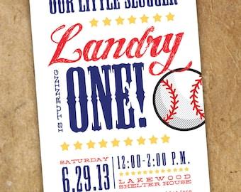 "Our Little Slugger Baseball Ticket Birthday Party Invitation // 3"" x 7"" Printable File"