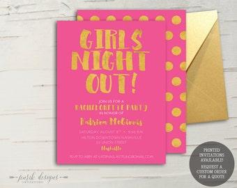 Gold & Hot Pink Dots Bachelorette Invitation    5x7 Printable Invitation