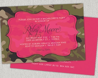 Hot Pink & Camouflage Diva Country Bachelorette Invitations