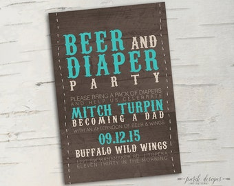 Rustic Beer & Diaper Party Invitation