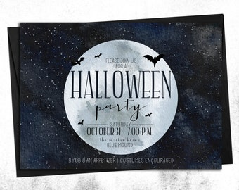 CUSTOM Under the Light of the Moon Halloween Party Invitation || Digital or Printed Invitations, Not a Template || Full Moon, Bats