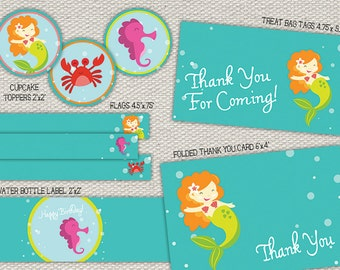 Mermaid Birthday Party Pieces - Banner, Cupcake Toppers, Thank You Card and more