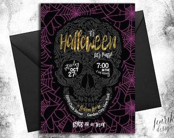 CUSTOM Dark Wonder Skull Halloween Party Invitation || Digital or Printed Invitations, Not a Template || Halloween Invitation, Printable