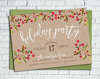 Rustic Holly Holiday Party Invitation || Kraft Paper, Printable Invitation || Christmas Card