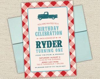 Vintage Truck Boys Birthday Invitation // Picnic // Checker Tablecloth