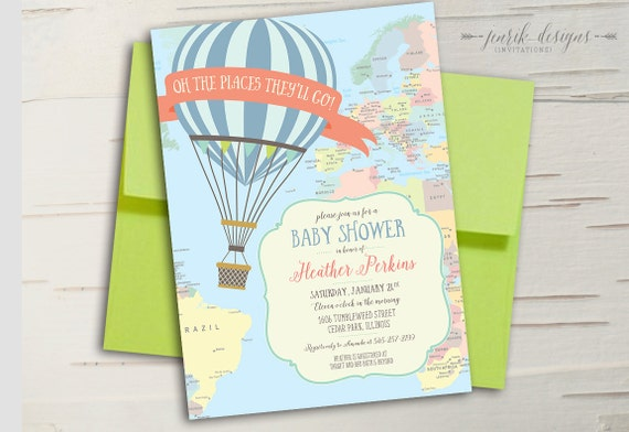Hot Air Balloon Baby Shower Invitation Oh The Places Etsy