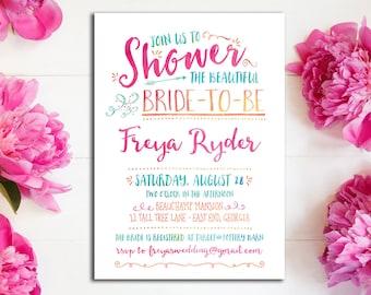 Bright Watercolor Bridal Shower Invitation || Hot Pink, Fuschia, Turquoise, Melon Orange, Aqua Blue