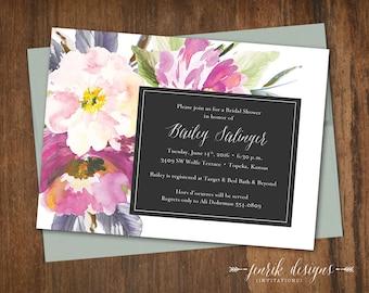 Elegant Floral Bridal Shower Invitation || Printable Invitation || Purple, Lavender, Sage