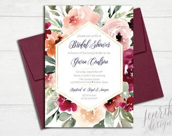 Fall Floral & Gold Bridal Shower Invitation || Burgundy, Sage, Cream, Gold