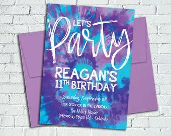 CUSTOM Purple & Turquoise Tie-Dye Invitation || Digital File or Printed Invites || Not a Template