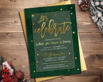 Holiday Celebration Party Invitation || Printable Invitation || Christmas Card