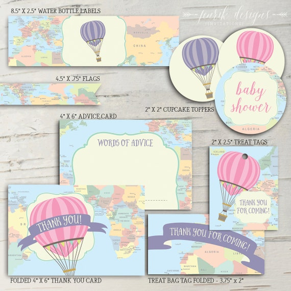 Hot Air Balloon Baby Shower Party Pack Oh The Places Etsy
