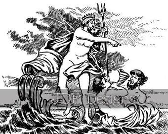 Instant Digital Download, Antique Victorian Graphic, Neptune with Mermen, Poseidon, Mythology, Nautical Ocean Adventure, Waves, Sea, Fantasy