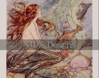 Instant Digital Download, Vintage Fantasy Graphic, Mermaid with Fish, Ocean, Sea, Water, Antique Book Print, Printable Image, Fairy Tale