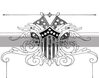 Instant Digital Download, Vintage Antique Graphic, Patriotic Emblem, American Flags & Shield, Printable, Scrapbook, Americana July Fourth