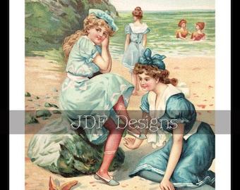 Instant Digital Download, Vintage Antique Graphic, Bathing Beauties, Women, Girls, Beach, Ocean, Printable Image, Scrapbook, Americana