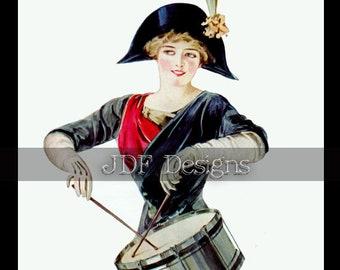 Instant Digital Download, Antique Edwardian Ephemera, Female Drummer, Military Woman, Printable, Patriotic Costume, Parade Fashion Image