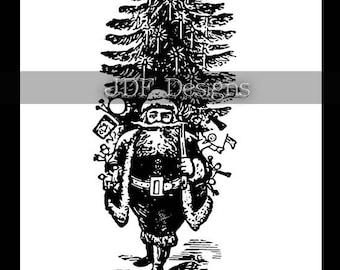 Instant Digital Download, Vintage Graphic, Antique Santa Claus with Christmas Tree, Engraving Print Printable Image Scrapbook, St. Nick