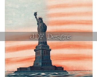 Instant Digital Download, Vintage Graphic, Statue of Liberty with Flag Sunset, Stars Stripes, Printable Patriotic Image, Scrapbook Americana