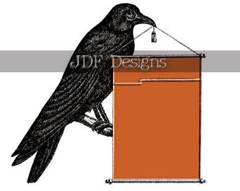 Instant Digital Download, Vintage Victorian Graphic, Black Bird, Crow, Raven with Banner, Antique Print Printable, Halloween Label, Sign