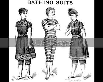 Instant Digital Download, Vintage Antique Graphic, Victorian Bathing Suit Ad, Advertisement, Printable, Scrapbook, Summer, Ocean Beauties