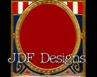 Instant Digital Download, Vintage Patriotic Art Nouveau Frame Label, Printable Image, Scrapbook, Americana Red Blue Gold, July Fourth, 4th