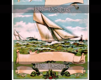 Instant Digital Download, Antique Victorian Graphic, Nautical Scroll Yachting Label, Sea Monsters, Boat, Ocean, Sign, Summer Vintage Image