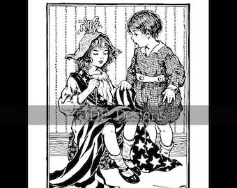 Instant Digital Download, Vintage Patriotic Graphic, Children Sewing Flag Costume, Parade, Printable Image Scrapbook, Americana Kids