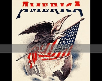 Instant Digital Download, Vintage Patriotic Graphic, America Eagle on Globe with Flag, Printable Image, Scrapbook, Americana, July Fourth