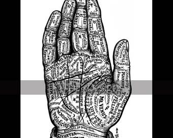 Instant Digital Download, Vintage Victorian Graphic, Hand Chart, Palmistry, Palm Reading, Fortune Teller Antique Print Printable Typography