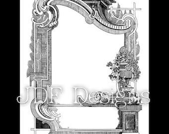 Instant Digital Download, Victorian Era Graphic, Ornate Decorative Frame, Text Banner Printable Image, Scrapbook