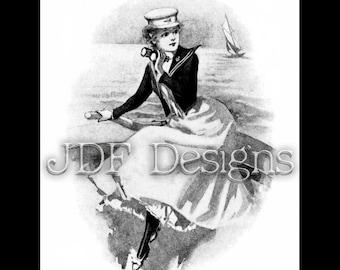 Instant Digital Download, Vintage Edwardian Antique Graphic, Yuchting Woman, Sailor Girl, Nautical Sail Boat, Binoculars, Ocean, Sea Costume